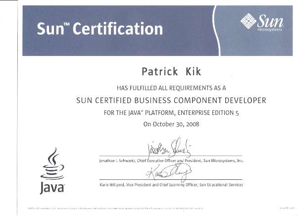 Sun Certified Business Components Developer