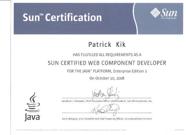 Sun Certified Web Components Developer Certificate